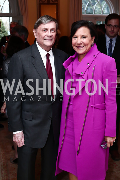 "Robert Kogod, Penny Pritzker. Photo by Tony Powell. Steve Case ""The Third Wave"" Book Party. Bradley Residence. March 30, 2016"