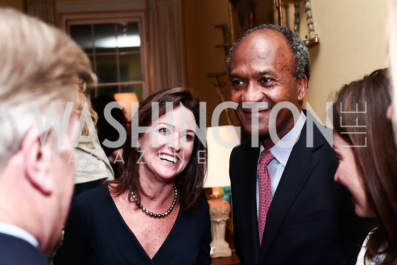 """Denise Grant, Frank Raines. Photo by Tony Powell. Steve Case """"The Third Wave"""" Book Party. Bradley Residence. March 30, 2016"""