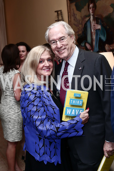 """Trish and George Vradenburg. Photo by Tony Powell. Steve Case """"The Third Wave"""" Book Party. Bradley Residence. March 30, 2016"""