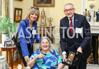 Nahla Reda, Esther Coopersmith, Egypt Amb. Yasser Reda. Photo by Tony Powell. Tea Honoring Women of the Diplomatic Corps. June 28, 2016