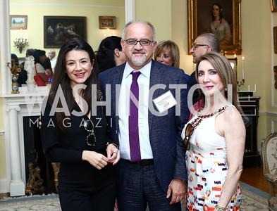 Aneta Spaic, Montenegro Amb. Professor Srdjan Darmanovic, Leila Beale. Photo by Tony Powell. Tea Honoring Women of the Diplomatic Corps. June 28, 2016
