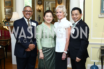Nepal Amb. Arjun Kumar Karki, Soumaly Savayongs, Kathy Kemper, Laos Amb. Mai Savayongs. Photo by Tony Powell. Tea Honoring Women of the Diplomatic Corps. June 28, 2016