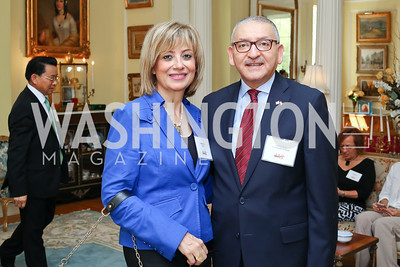 Nahla Reda and Egypt Amb. Yasser Reda. Photo by Tony Powell. Tea Honoring Women of the Diplomatic Corps. June 28, 2016