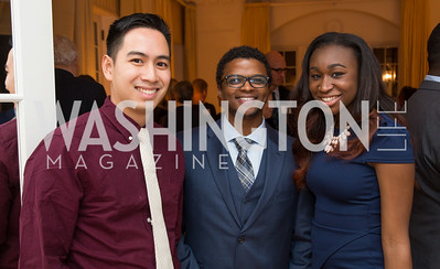Jeremy Akiyama, Pocco Bussey and Brittany Williams. Photo by Erin Schaff. Teach for America 2017 Gala Preview. Home of Christine Rales. December 08, 2016.