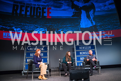 Kim Dozier, Mariela Shaker, Tom Stoddart. Photo by Alfredo Flores. The Annenberg Space for Photography's Refugee Opening Reception. Newseum. November 17, 2016