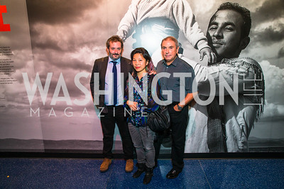 Bob Ahern, Mia Tran, Tom Stoddart. Photo by Alfredo Flores. The Annenberg Space for Photography's Refugee Opening Reception. Newseum. November 17, 2016