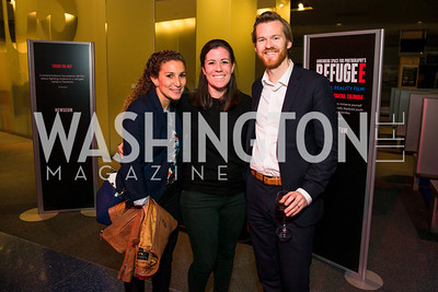 Talya Wyzanski, Jen Baird, Sean Burke. Photo by Alfredo Flores. The Annenberg Space for Photography's Refugee Opening Reception. Newseum. November 17, 2016