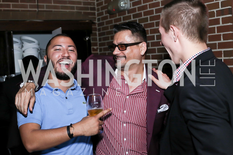 Adil Baich, Erich Hosbach, Justin Snyder. Photo by Tony Powell. The Graham Rooftop VIP Anniversary. April 21, 2016