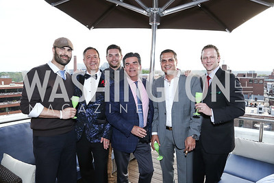 Roberto Gonzalez, The Graham GM Robert Clark, Anthony Mannuccia, David Cronin, Farees Salim, Charles Tappan. Photo by Tony Powell. The Graham Rooftop VIP Anniversary. April 21, 2016