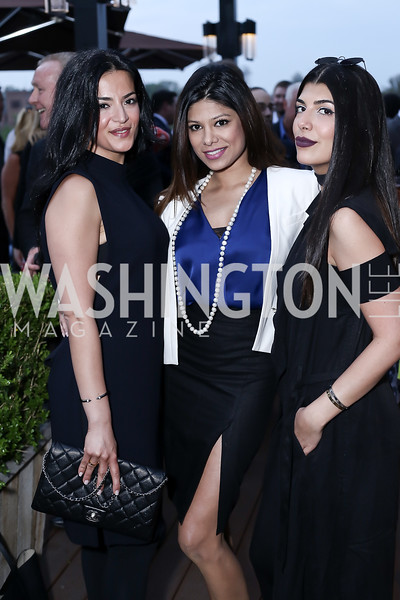 Eli Gold, Sakshi Tewary, Sanaz Noorbakhsh. Photo by Tony Powell. The Graham Rooftop VIP Anniversary. April 21, 2016