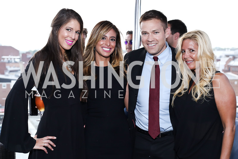 Bradleigh Batcheler, Erika Gutierrez, Andy Baldwin, Victoria Michael. Photo by Tony Powell. The Graham Rooftop VIP Anniversary. April 21, 2016
