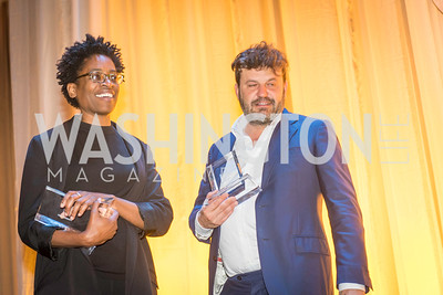 Jaqueline Woodson, Domingo Zapata, David Arquette, Miles Ray, The Lab School of Washington, Awards Gala, at the National Building Museum, November 17, 2016.  Photo by Ben Droz