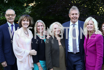 EU Amb. David O'Sullivan and Agnes O'Hare, Vanessa Darroch, Carole King, Britain Amb. Sir Kim Darroch, Susan Blumenthal. Photo by Tony Powell. The Queen's 90th Birthday. Residence of Britain. June 8, 2016