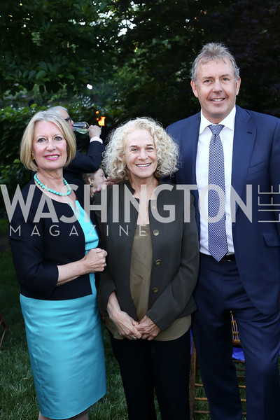 Lady Darroch, Carole King, Britain Amb. Sir Kim Darroch. Photo by Tony Powell. The Queen's 90th Birthday. Residence of Britain. June 8, 2016