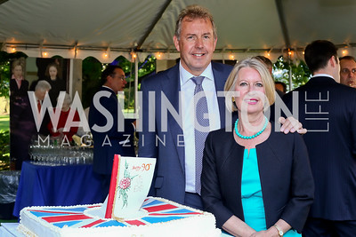 Britain Amb. Sir Kim Darroch and Lady Darroch. Photo by Tony Powell. The Queen's 90th Birthday. Residence of Britain. June 8, 2016