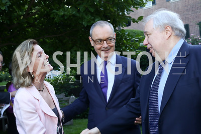 Ireland Amb. Anne Anderson, EU Amb. David O'Sullivan, Russia Amb. Sergei Kislyak. Photo by Tony Powell. The Queen's 90th Birthday. Residence of Britain. June 8, 2016