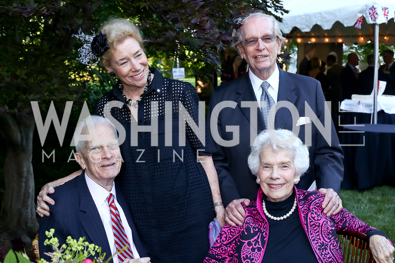 Librarian of Congress Emeritus James Billington, Dorothy and Bill McSweeny, Marjorie Billington. Photo by Tony Powell. The Queen's 90th Birthday. Residence of Britain. June 8, 2016