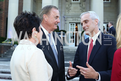 Diane Jones and Gen. Jim Jones, WH Chief of Staff Denis McDonough. Photo by Tony Powell. The Queen's 90th Birthday. Residence of Britain. June 8, 2016