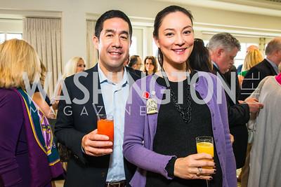 David Nakamura, Christine Schenck. Photo by Alfredo Flores. Thomson Reuters Correspondents' Brunch. Hay Adams Hotel. May 1, 2016