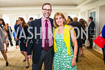 Steve Adler, Paula Dobriansky. Photo by Alfredo Flores. Thomson Reuters Correspondents' Brunch. Hay Adams Hotel. May 1, 2016