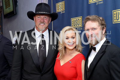 Country Singer Trace Adkins, Kellie Pickler, Country Singer Craig Morgan. Photo by Tony Powell. USO 75th Anniversary Gala. DAR. October 20, 2016