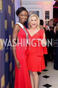 Miss USA 2016 Deshauna Barber, Kellie Pickler. Photo by Tony Powell. USO 75th Anniversary Gala. DAR. October 20, 2016