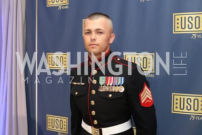 USMC Sergeant Terryn Thompson. Photo by Tony Powell. USO 75th Anniversary Gala. DAR. October 20, 2016