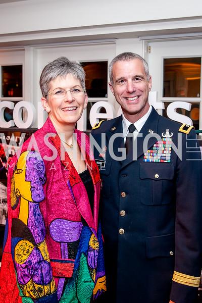 Teresa Gerton, Gen. Reynold Hoover. Photo by Tony Powell. USO 75th Anniversary Reception. Hay Adams. February 4, 2016
