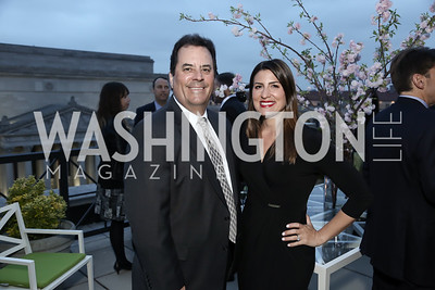 Sirius XM's Tim Farley, Gray TV's Jacqueline Policastro. Photo by Tony Powell. 2016 WHC Press for the Press Party. April 27, 2016
