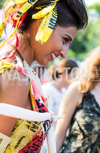 """Trashion"" model Sonia Walia. Photo by Erin Schaff. 2016. Washed Ashore: Art to Save the Sea VIP Reception. Smithsonian National Zoo Elephant Community Center. May 26, 2016."