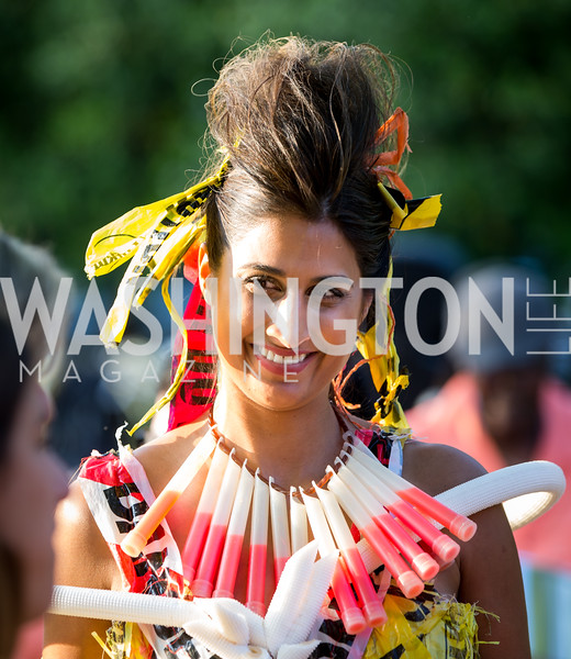 """""""Trashion"""" model Sonia Walia. Photo by Erin Schaff. 2016. Washed Ashore: Art to Save the Sea VIP Reception. Smithsonian National Zoo Elephant Community Center. May 26, 2016."""