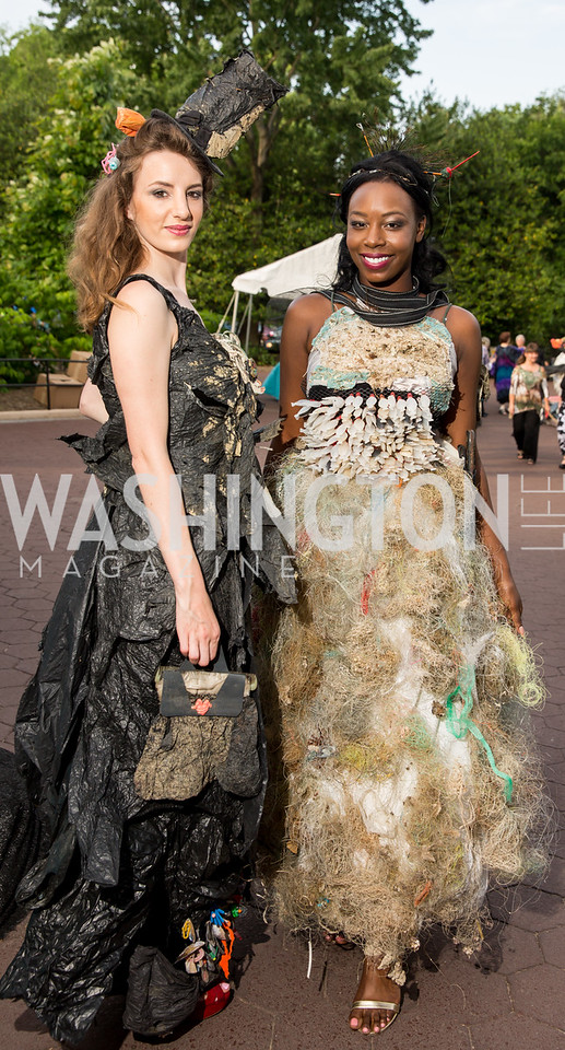 """Trashion"" models Nerea Fuentes and Chrislene Bright. Photo by Erin Schaff. 2016. Washed Ashore: Art to Save the Sea VIP Reception. Smithsonian National Zoo Elephant Community Center. May 26, 2016."