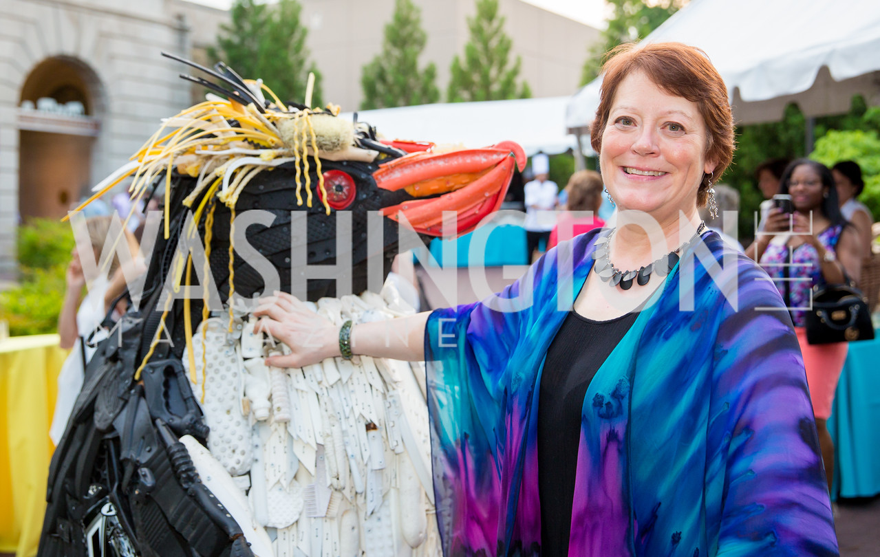 Angela Haseltine Pozzi, Lead Artist and Executive Director of Washed Ashore. Photo by Erin Schaff. 2016. Washed Ashore: Art to Save the Sea VIP Reception. Smithsonian National Zoo Elephant Community Center. May 26, 2016.