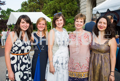 Erika Novak, Elise Bernardoni, Laura Klopfer, Debby Kelly, Isabella Polles. Photo by Erin Schaff. 2016. Washed Ashore: Art to Save the Sea VIP Reception. Smithsonian National Zoo Elephant Community Center. May 26, 2016.