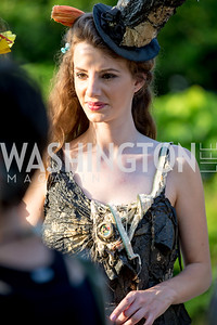 """""""Trashion"""" model Nerea Fuentes. Photo by Erin Schaff. 2016. Washed Ashore: Art to Save the Sea VIP Reception. Smithsonian National Zoo Elephant Community Center. May 26, 2016."""