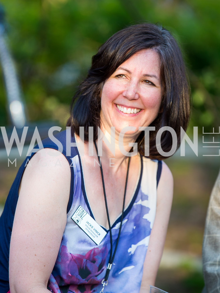 Jackie Vinick. Photo by Erin Schaff. 2016. Washed Ashore: Art to Save the Sea VIP Reception. Smithsonian National Zoo Elephant Community Center. May 26, 2016.