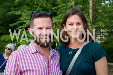 Lifefactory's Andy Tonken and Julie Henderson. Photo by Erin Schaff. 2016. Washed Ashore: Art to Save the Sea VIP Reception. Smithsonian National Zoo Elephant Community Center. May 26, 2016.