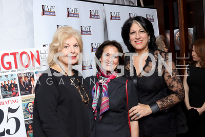 Patricia Harrison, Anita McBride, Tammy Haddad. Photo by Tony Powell. WL & Cafe Milano 25th Anniversary. December 5, 2016
