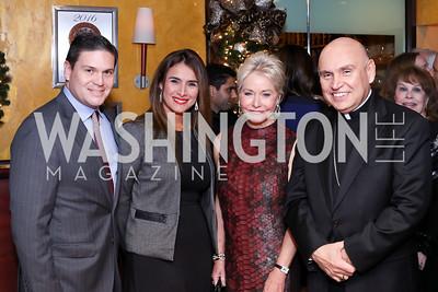 Colombian Amb. Juan Carlos Pinzón, Pilar Lozano, Mary Ourisman, Bishop Mario Dorsonville. Photo by Tony Powell. WL & Cafe Milano 25th Anniversary. December 5, 2016