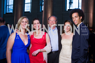 Caitlin Nettleton, Sophie and Robert Cole, Chelsea Cole, Cooper Cafritz. Photo by Erin Schaff. 2016. Washington International School 50th Anniversary Golden Gala. Andrew W. Mellon Auditorium. May 14, 2016.