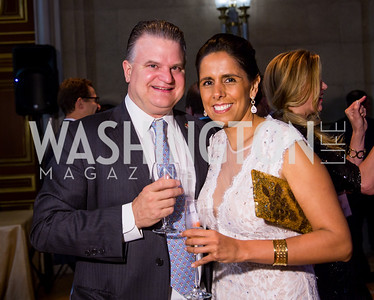 Charles and Mayte Schlumberger. Photo by Erin Schaff. 2016. Washington International School 50th Anniversary Golden Gala. Andrew W. Mellon Auditorium. May 14, 2016.