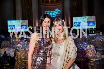 Gala Co-Chairs Isabel de la Cruz Ernst and Jennifer Camel-Toueg. Photo by Erin Schaff. 2016. Washington International School 50th Anniversary Golden Gala. Andrew W. Mellon Auditorium. May 14, 2016.