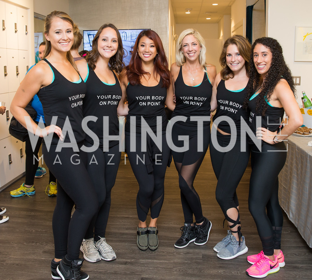 Lara Zinn, Dana Krell, Jackie Chiao, Kelly Wilkinson, Sara Vandervort, Jeanine Menolascino. Photo by Erin Schaff. Xtend Barre Arlington Launch Party. Xtend Barre Arlington. September 10, 2016.