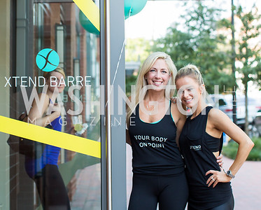 Studio Owner Kelly Wilkinson, Xtend Barre Founder Andrea Rogers. Photo by Erin Schaff. Xtend Barre Arlington Launch Party. Xtend Barre Arlington. September 10, 2016.