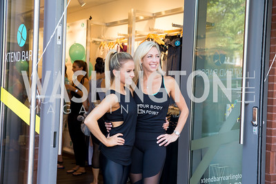 Xtend Barre Founder Andrea Rogers, Studio Owner Kelly Wilkinson. Photo by Erin Schaff. Xtend Barre Arlington Launch Party. Xtend Barre Arlington. September 10, 2016.