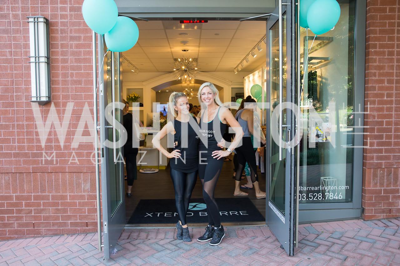 Xtend Barre Founder Andrea Rogers, Studio Owner Kelly Wilkinson. Photo by Erin Schaff. Xtend Barre Arlington Launch Party. Xtend Barre Arlington. September 10, 2016.