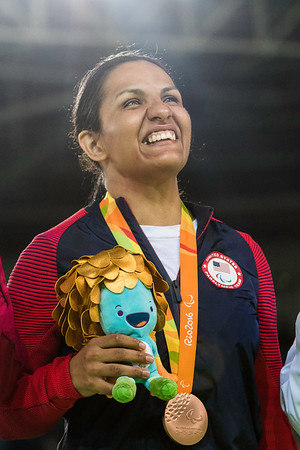 Cristella Garcia poses at the victory podium after clinching a bronze medal, 10 SEPT. 2016.