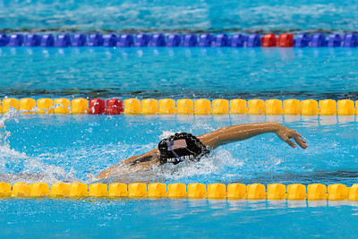 Becca swimming onto victory in the 400 M SM13 race.  Photo:  Ken King