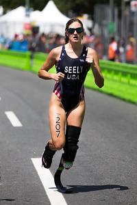 Alyssa Seely on the last segment of the women's triathlon BT2.  She brought home the gold for the USA.