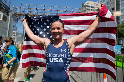 Melissa Stockwell took the bronze medal in the triathon BT2 .  Here she is posing for us after the race in the press area.  Photo:  Ken King